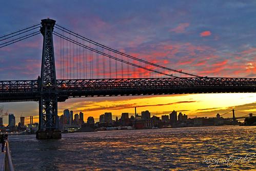 Williamsburg Bridge at Sunset seen from Domino Park Williamsburg Brooklyn New York City NY P00534 DSC_0416