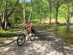 Cyclist, Stepping stones, Sherbrook Valley, England