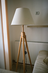 Corner of a living room with lamp.