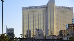 """Nevada - Las Vegas:  Track of """"The Mandalay Bay Tram"""" in front of  """"Sphinx"""" Replica and large MANDALAY BAY hotel & casino"""