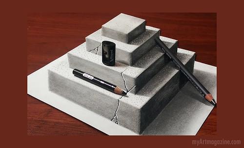 3D Pencil Drawing Idea Steps