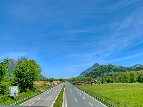Empty Autobahn near Oberaudorf, Bavaria, Germany