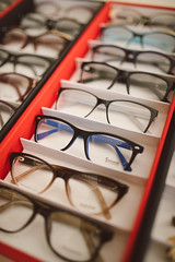Glasses in optical store.