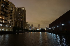 Chicago Tribune Printworks and Chicago River at night