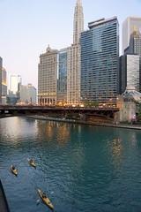 Chicago Riverwalk at dusk