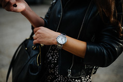 Closeup of woman watch on her hand