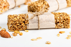 Close-up, granola bar with oatmeal and almonds
