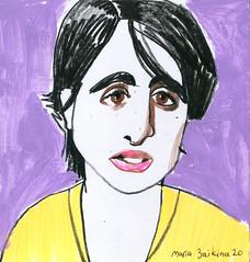 Maria Zaikina, Girl, mixed media on paper, 2020