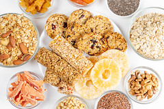 Healthy desserts from dried fruits, nuts, seeds and oatmeal. The view from the top