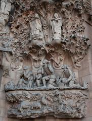 Facade showing shepherds kneeling la Sagrada Familia - Barcelona, Spain