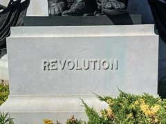 Revolution sign, Washington Memorial, Forest Lawn Cemetery, Hollywood, Los Angeles, California, USA
