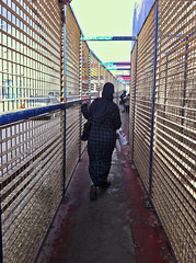 Spain, Ceuta - Fenced pedestrian access to border crossing post of Ceuta - December 2015