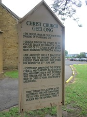 Geelong. Moorabool Street. Information board on the history of Victoria's oldest standing Anglican Church.
