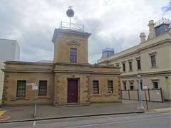 Geelong.  The timeball on top of the old Telegrpah Station. The timeball was used for ships to set correct time. The sandstone building was built in1858 . Next to it is the 1890 Post Office.