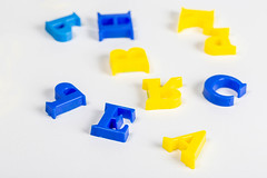 Magnet letters on white background