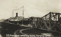 SS Franconia, entering Panama Canal locks, Cunard White Star Line