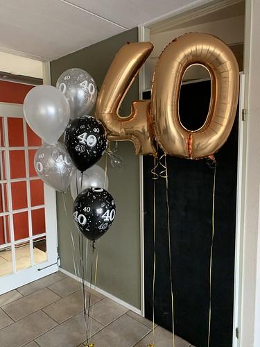 Ballonboeket Verjaardag 40 Jaar Zwart Zilver Goud