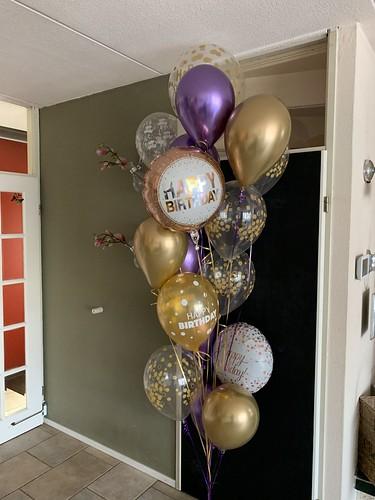 Ballonboeket Verjaardag Paars Goud Groot