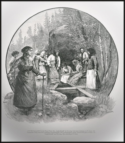 """s133 7803 Garten1892 Vor den Thoren Wiens: Das """"Jungfernbründl"""" bei Sievering. Nach einer Zeichnung von W. Gause."""
