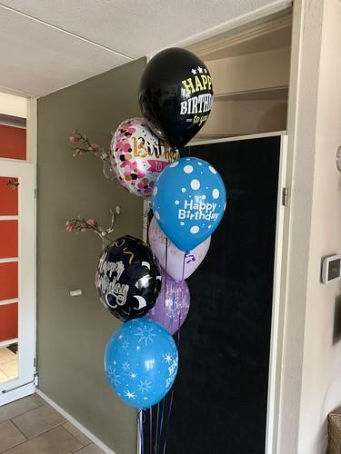 Ballonboeket Verjaardag Blauw Zwart