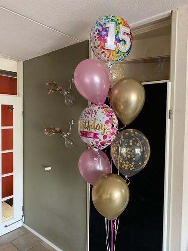Ballonboeket Verjaardag 15 Jaar Roze Goud