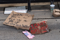 Signs left by protesters at 38th St and S. Chicago Avenue in Minneapolis on Wednesday, after the death of George Floyd on Monday night in Minneapolis, Minnesota