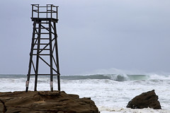 Redhead shark tower and storm surf