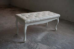 Glamour white stool in home workshop.