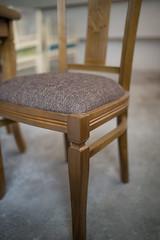 Brown chair details in workshop.