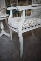 Glamour white chair in workshop.