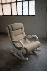 Modern armchair in home workshop.