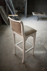 Beautiful homemade chair in workshop.
