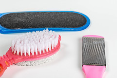 Pumice and nail files for cleansing the skin of the foot