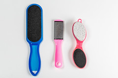 Bathroom foot care accessories, top view