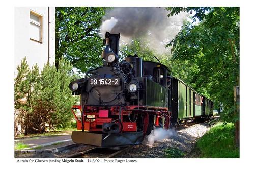 Mügeln Stadt. Train leaving. 14.6.09