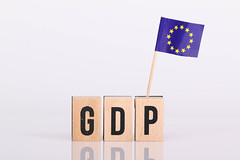 Wooden blocks with the word GDP and flag of European Union