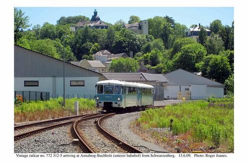 Annaberg-Buchholz (Unterer Bhf). Vintage railcar. 13.6.09