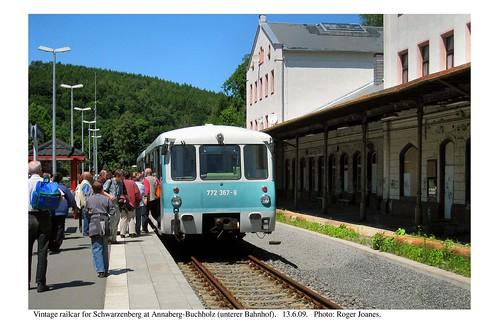 Annaberg-Buchholz (Unterer Bhf). Railcar for Schwarzenberg. 13.6.09