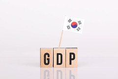 Wooden blocks with the word GDP and flag of South Korea