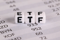 ETF - Exchange Traded Funds text on financial documents