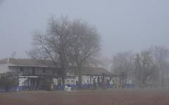 Casa de campo bajo la niebla
