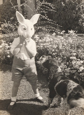 Pat with rabbit mask, January 1935, photographs of the Allen family