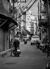 Motorbyclist on the Touristy Street