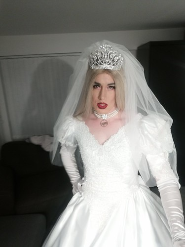 "👰� Stunning young crossdresser bride ""Scarlett Isabella"" from bristol, UK on her wedding day. Look at her Exquisite satin wedding gown and gloves �"