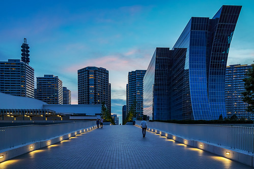 The pedestrian bridge at  Rinko Park, Minatomirai, Yokohama at Twilight : みなとみらい 臨港パークにて