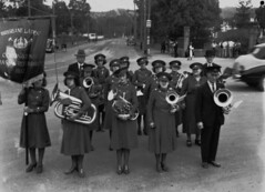 Brisbane Ladies Coronation Brass and Reed Band outside the gates of Toowong Cemetery 1940