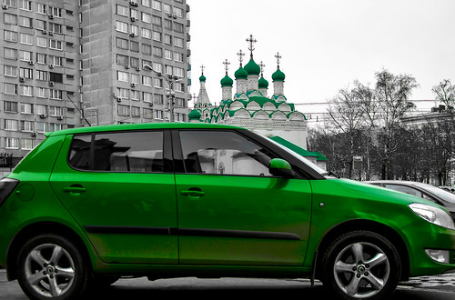 Green car and domes