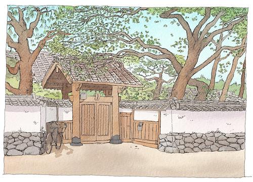 Japan, Hagi, samurai house gate