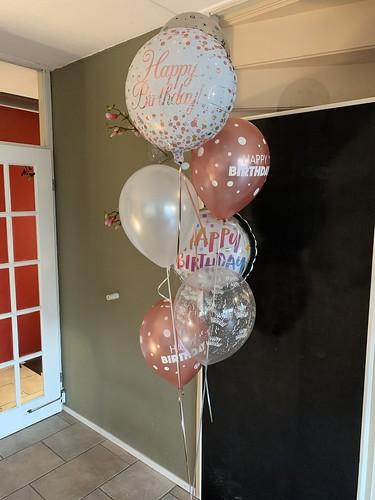 Ballonboeket Verjaardag Rose Goud