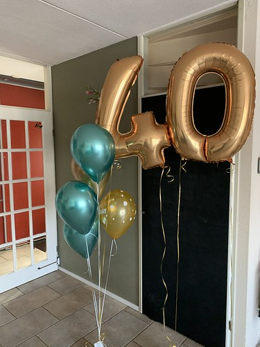 Ballonboeket Verjaardag 40 Jaar Chrome Groen Goud